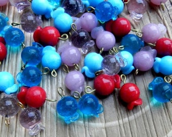 wonderful  50 Pcs mix pomegranet shape beads with hooks /glass charms  lampwork fancy handmade measuring  20 MM X 13 MM.