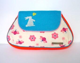 Clutch Purse - Bunny Love Clutch (Vintage Floral Ladybug)