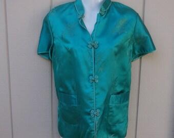 70s Vintage Blue Damask Asian Pajama Top / Loungewear Mod Oriental Classic Cheongsam Shirt // Sz Med - Lge