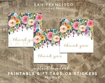 Printable Thank You Tags, Floral Bridal Shower, Baby Shower Gift Tags - ASHLEY Collection - DIY Instant Download PDF File