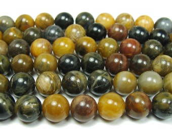 Petrified Wood Agate Round Gemstone Beads