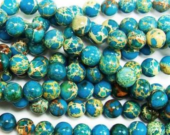 Turquoise Imperial Jasper Round Gemstone Beads