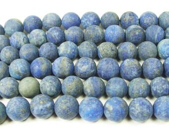 Natural Lapis Matte Round Gemstone Beads