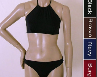 High Neck Halter Bikini Top and Full Coverage Bikini Bottom in Black, Brown, Navy Blue and Burgundy in S-M-L-XL
