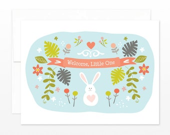 Cute New Baby Card, Baby Shower Card - Bunny Rabbit Garden Welcome Little One