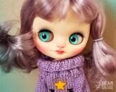 """OOAK Custom Middie Blythe Art Doll """"Ramona"""" by Dear Girlface Dolls Purple Hair"""