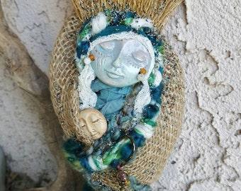 Secret Garden, Spirit Art doll, Shabby Chic Decor, Forest Fairy, Moon Goddess, Bohemian art doll, Cottage chic decor, Doula companion