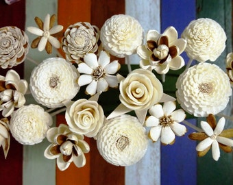20 Sola Wood Diffuser Flowers with 7.5in. Rattan Reeds, mix of Jasmine, Rose, Zinnia, Lotus, Dianthus, Rangoon-Creeper