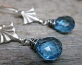 Muse: Thalia earrings ... antique silver / sterling silver earwires / wire wrapped swiss blue topaz