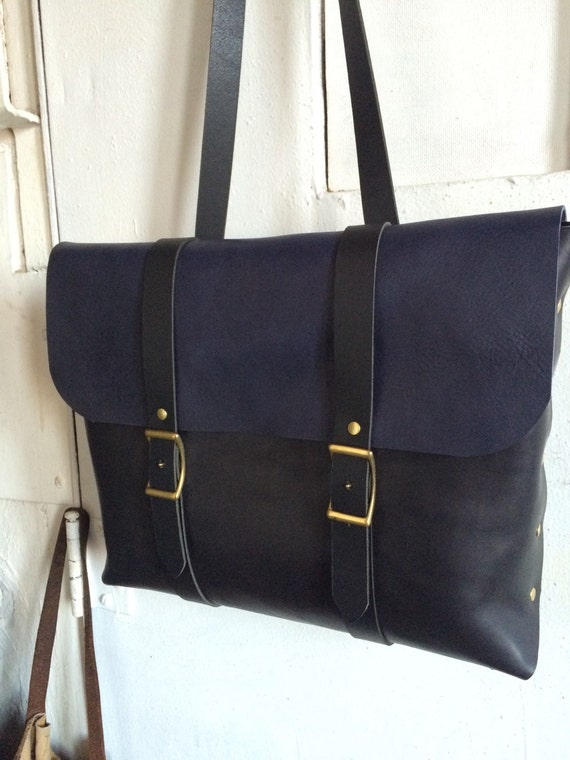 black and indigo rucksack briefcase