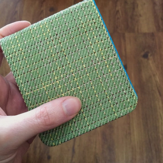 Mens Ultrathin Billfold Wallet / Moss Green Plaid Wool / OhSoRetro