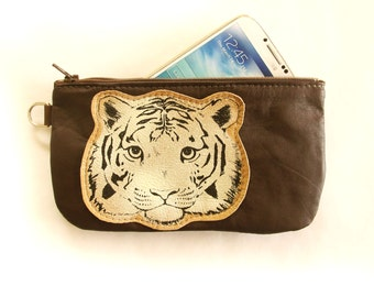 Tiger Phone Pouch Pencil Case Brown Recycled Leather