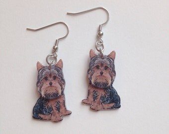 Handcrafted Plastic 3D Yorkshire Terrier Earrings