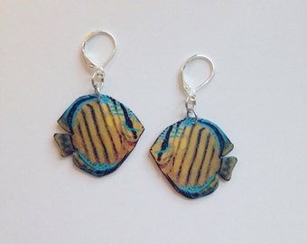 Handcrafted Plastic Brown Discus Earrings