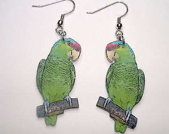 Handcrafted Plastic Lilac Amazon Parrot Earrings