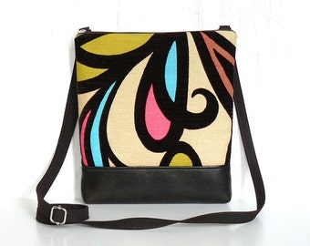 Small Crossbody Bag, Zipper Hip Bag, Cross Body Purse - Serendipity Swirl in Espresso, Aqua, Coral and Cream