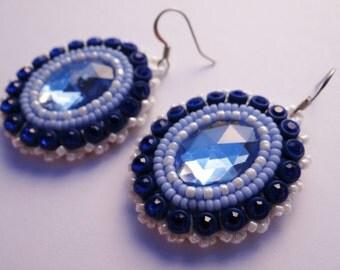 Blue & White Beaded Earrings