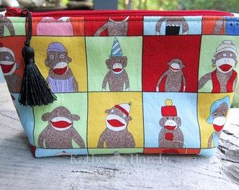 Sock Monkey Fabric Bag | Makeup Bag | Cute Sock Monkey Fabric | Sock Monkey Lover | Small Gift Under 20 | Camera Accessory Bag