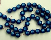 20 Inch Strand Medium Blue Lucite Moonglow Beads