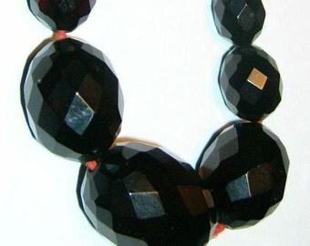 VINTAGE Estate Necklace of deep burgandy Bakelite Faceted Beads...C 30s