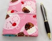 Cupcake  FABdori,  Fabric Travlers Notebook- Passport Size; Fauxdori: Midori Style Notebook