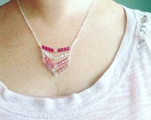 Sweetheart Swarovski Crystal Chevron Necklace In Sterling Silver