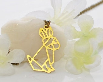 Rabbit Necklace Geometric Bunny Maize - Bunny Pendant - Rabbit Jewelry - Bunny Rabbit Inspired