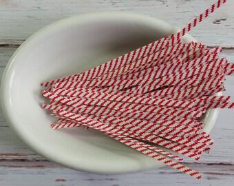 Red Striped Twist Ties- 100 pack, Packaging Trim