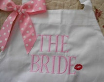 Bride Apron Wedding Gift Customized Gift Bridal Apron Adult Gift Personalize Shower Gift