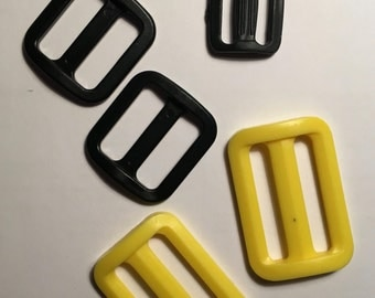 Black Yellow Slides Plastic Various Sizes for DIY Sewing Crafting, Lot of 5 pcs