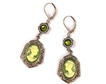 Neo Victorian Earrings with Floral Framed Green Cameos with Peridot Swarovski Crystal in Antiqued Silver by Nouveau Motley