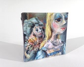 "Cinderella and Her Fairy Godmother 3""x3"" Miniature Painting on Canvas"