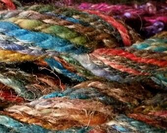 Hand painted Hand spun yarn Merino Flax & Silk Chunky Wt 2 ply AMAZING FUN