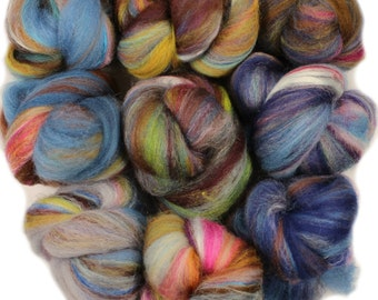 Wishing Well -- mini batts (2 oz.) organic polwarth wool, soysilk, sparkle, etc.