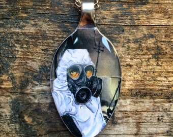 RW2 Gas Mask Apocalyptic City Spoon 3D Necklace Pendant Surreal Art by Robert Walker