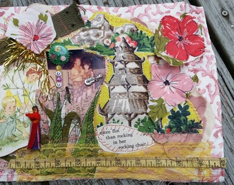Vintage Rockin' Luau Fabric Collage Fiber Arts Mixed Media Frameable Art Quilting Square