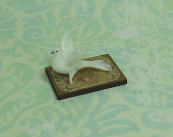 Dollhouse Miniature Glass Dove Figurine