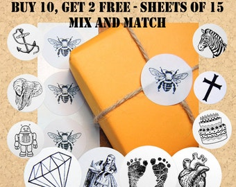 """Bulk Envelope Seals/Stickers  Buy 10, get 2 FREE - 1"""" One Inch Round, B&W, Sheets of 15 -  by Blossom Arts"""