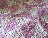 Pink and White Baby Quilt Circles, handmade, heart and loop quilting, perfect for baby girl