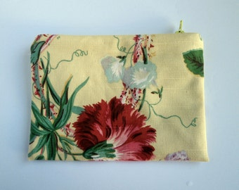 Floral Zipper Pouch, Makeup Bag, Yellow Floral Pouch, purse organizer, clutch bag, travel accessory, cord cozy, fabric bag, linen blend