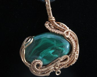 Malachite Copper Wire Wrap Pendant