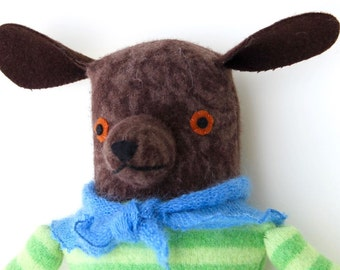 Brown Girl Dog hound wool doll plush softie