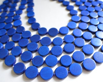 The Charlotte- Royal Blue Wood Statement Necklace