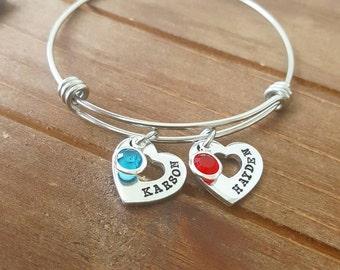 Mommy Kid Name Bangle Bracelet Heart Charms Personalized New Mommy Gift Bracelet Heart Charms Family Charms