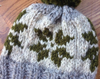 Chunky Hand Knit Fair Isle Snowflake Hat Gray, Ivory and Olive with XL Pompom