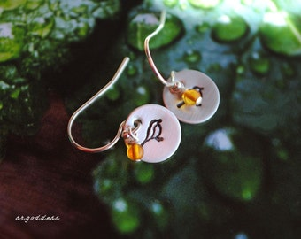 LITTLE BIRDS all sterling silver and baltic amber drop earrings by srgoddess