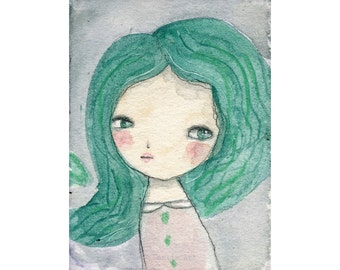 Ariel - Giclee Reproduction Of Original Watercolor Painting By Danita Art (Paper Prints and ACEO Wood Mounted)