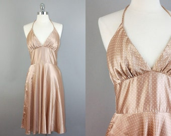 Vtg 80s Marylin Monroe Pin up Rockabilly 50s polka dot print satin halter dress sz S