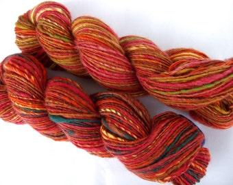 Handspun yarn, 2 skeins, 6oz, INDIAN SUMMER, handspun and handpainted yarn, merino yarn, bluefaced leicester yarn, thick and thin, 310 yds