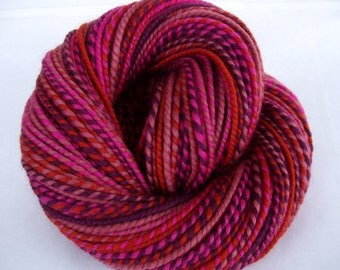 Handspun merino yarn, self striping yarn, bulky yarn, chunky yarn, dolls hair, purple, pink, burnt orange, VILLETTE, 4.2oz, 124yds